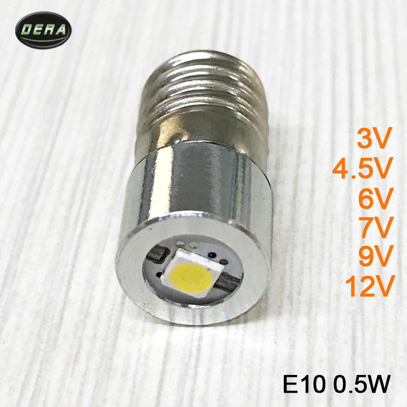 E10 0.5w 3v 3.7v(3.4-4.2v) 4.5v 6v 7.5v 9v 12v LED Flashlight Torch Bulbs With Epistar Chip Led Flashlight Bulb Light Head Lamp
