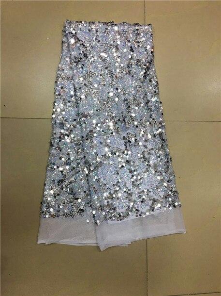 Ev ve Bahçe'ten Dantel'de Gümüş pullu kumaş 450*135 CM afrika payet dantel kumaş yüksek kalite afrika tül dantel payetli kumaş dikiş elbise için'da  Grup 1