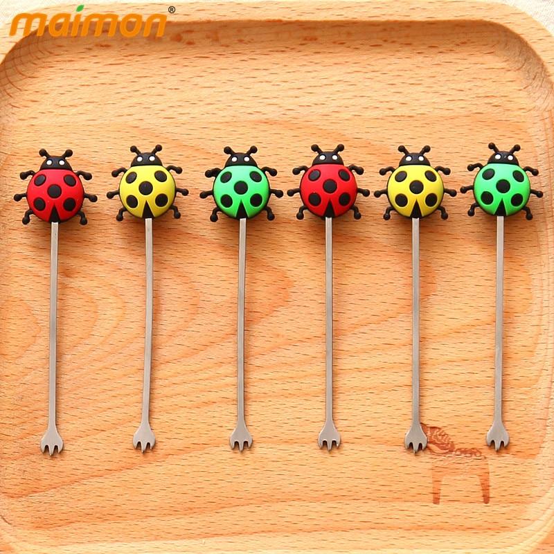 6pcs/set Baby Ladybug Fruit Forks Set Kitchen Table Decoration Mini Fruit Picker Kids Tableware Fruit & Vegetable Tools