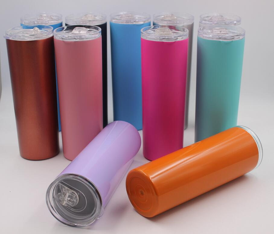 10pcs 20oz Vacuum Tumbler Stainless Steel Skinny Tumbler Vacuum Insulated Straight Cup Beer Coffee mugs with