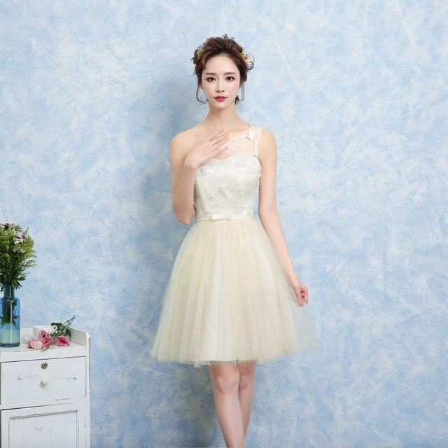 ZX38XD # champagne Damas de Honor vestidos cortos nuevo 2017 ...