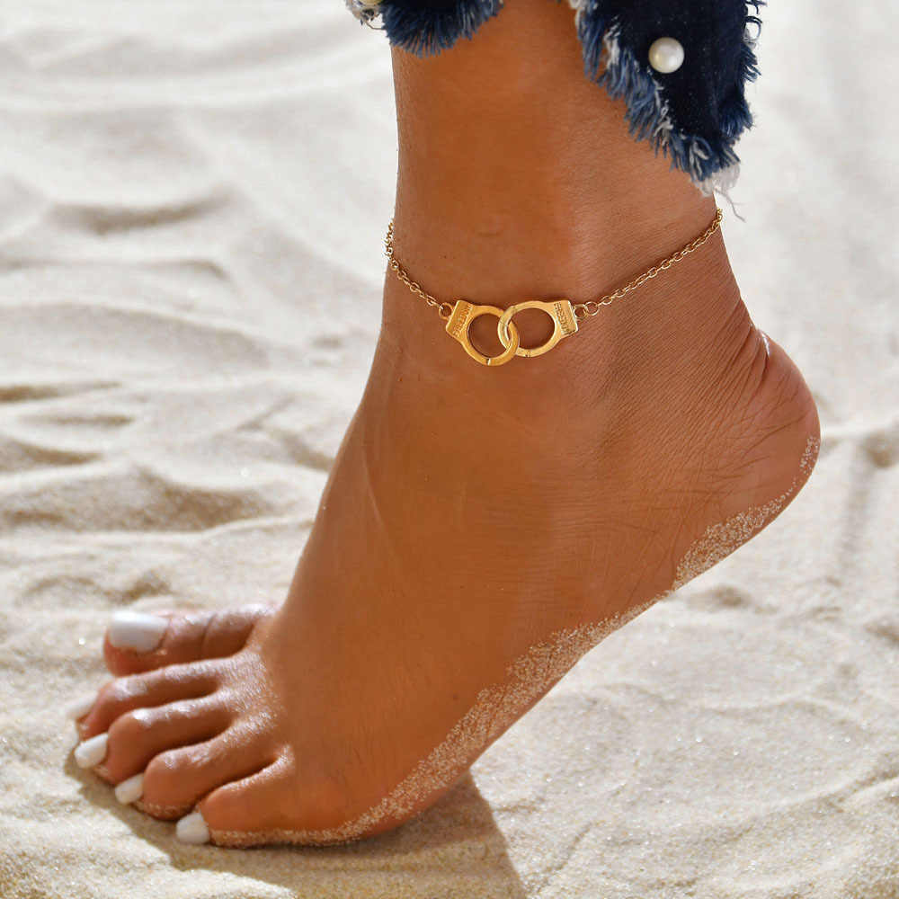 RscvonM ヴィンテージシルバーゴールドカラー手錠女性ボヘミアン自由足首のブレスレットに脚裸足パーティージュエリー