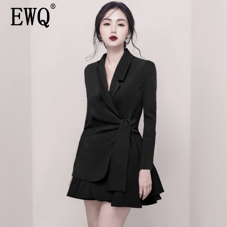 EWQ 2019 New Spring And Summer Fashion Women Office Lady Dress Notched High Waist Sexy