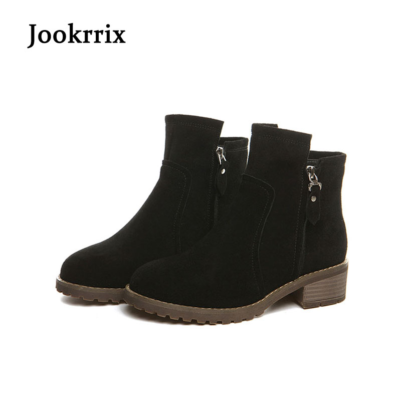 Jookrrix Autumn Winter Lady Boots Suede Fashion Zipper Black Ankle Boots Genuine Leather Shoes Women Med Heel Warm Martin Boots jookrrix autumn fashion boots women shoe metal decoration lady genuine leather zipper martin boot breathable black western style page 10
