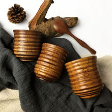 2pcs Threaded Small Wooden Cup for Water/Tea/Wine Travel Carries Coffee Milk Tea Cups Novelty Gifts Bar Drinkware Eco-friendly(China)