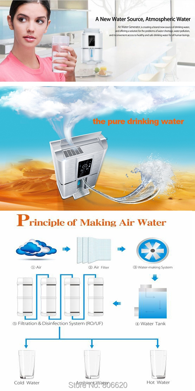Home 50LD Pure Atmospheric Air to Water Treatment Dispenser Generator with Intelligent RO Filter & NFC Code-Scanning Match Tech_P1