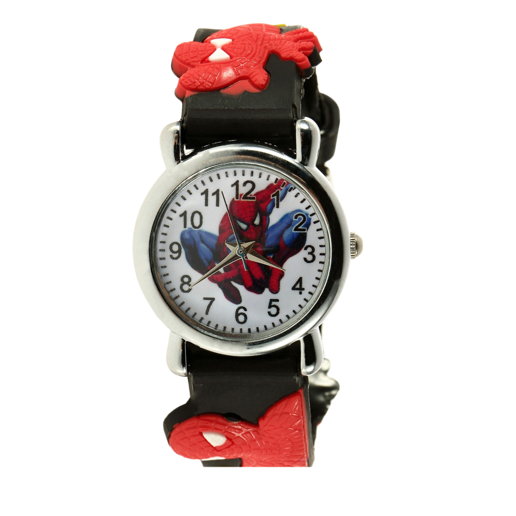 Black Red 3D Rubber Cartoon Kids Children's Watches Boys Girls Analog Quartz Sports Wrist Watches