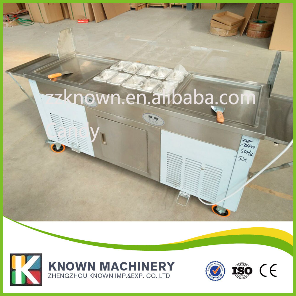 Double Pans Fried Ice Cream Machine 2 Pans Ice Cream Roll Making Machine with Salad Fruit Workbench 10pcs Tanks Cooling