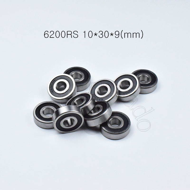 6200RS 10*30*9(mm) 1Piece Bearings ABEC-5 Rubber Sealing Bearings Free Shipping 6200 6200RS Chrome Steel Deep Groove Bearing