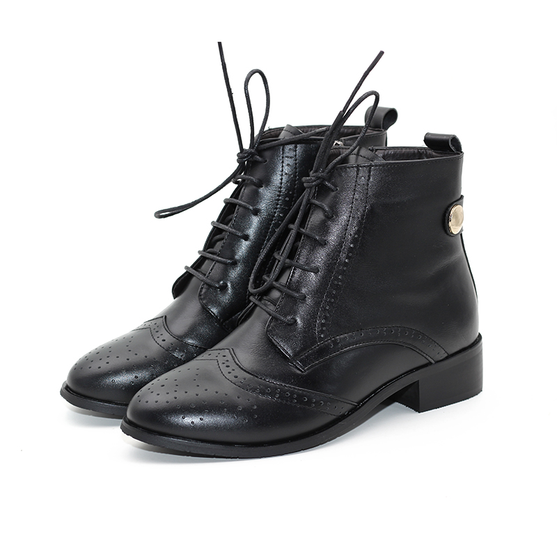 Autumn and Winter New Boots Female British Retro Carved Thick With Genuine Leather Boots Side Zipper