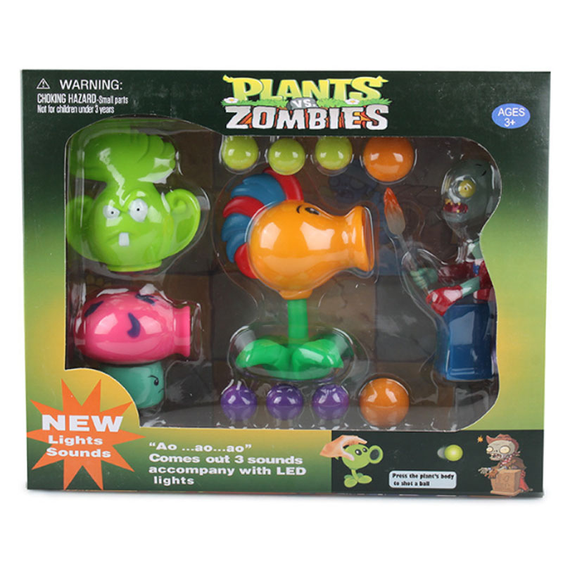 Box Plants vs Zombies action figure Fire Bullet Peashooter toys for Kid 2016 New Plants vs Zombies chomper pea sunflower toy set new 10cm kids toys pvz plants vs zombies peashooter pvc action figure model toy plants vs zombies toys for baby gift