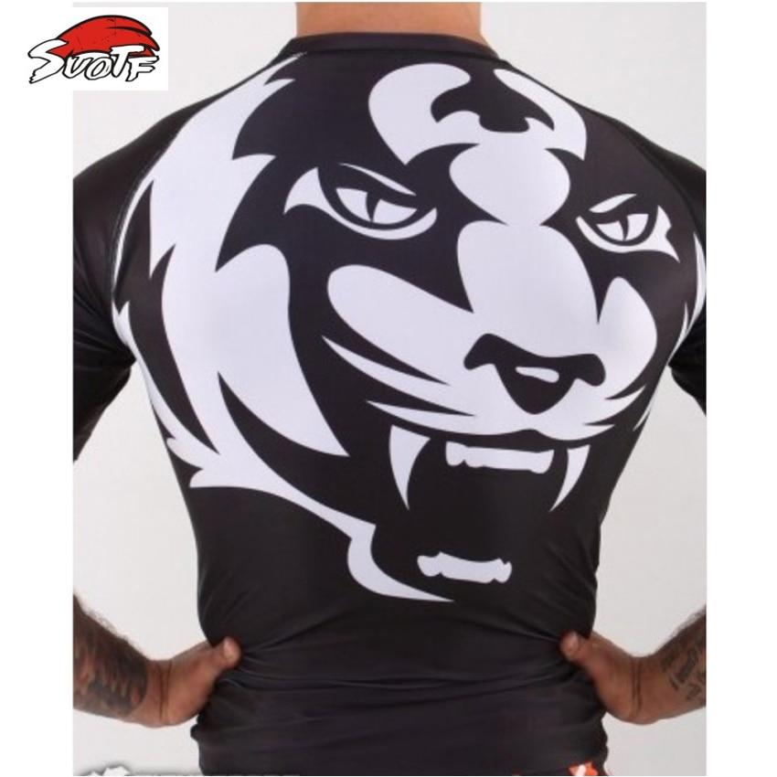 SUOTF Tight-fitting Short-sleeved White Tiger Muay Thai Bad Boy Muay Thai Boxing Shorts Mma Men Short Muay Thai For Boxing