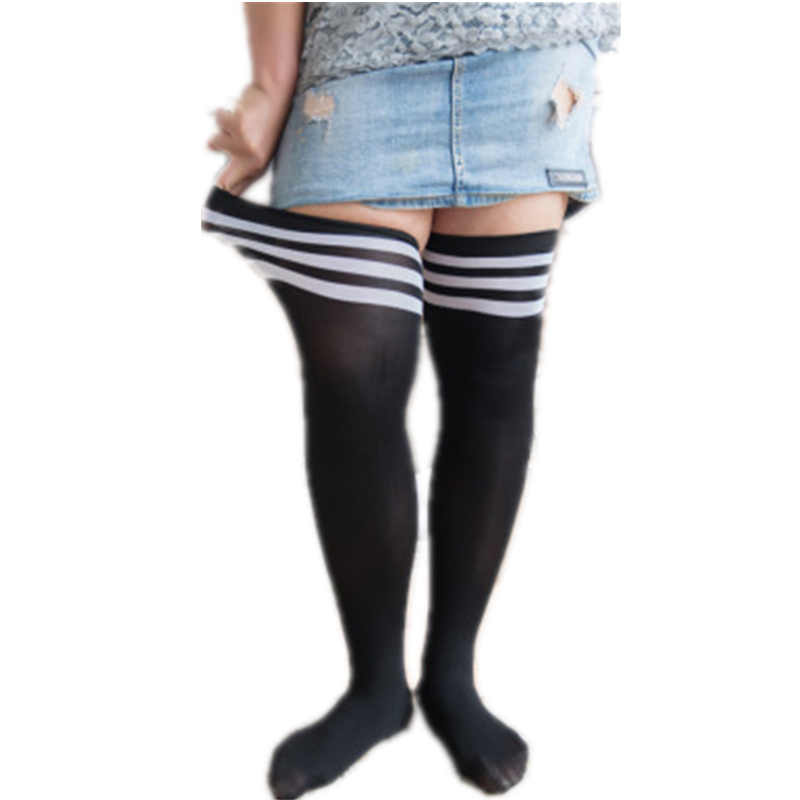 525e02736 2018 Women s Stockings Of Large Size Thigh High Knee High Socks Explosion  Pure Black Female Stockings