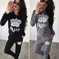 Hot Selling Plus Size Womens Two Piece Set Letter Printed Shirt + Elastic Waist Pant Women Tracksuits Female Sportswear Sets