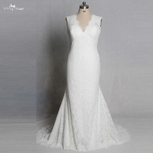 RSW1347 Real Pictures Yiaibridal Sleeveless V Neckline Mermaid Wedding Gown Vestido De Noiva Plus Size Lace Dress