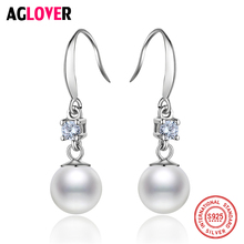 Pearl Earrings Round Drop Earrings Freshwater Pearl Zircon 925 Sterling Silver Jewelry For Women Fashion Accessories цена
