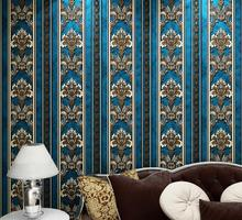 vintage blue damask striped wallpaper