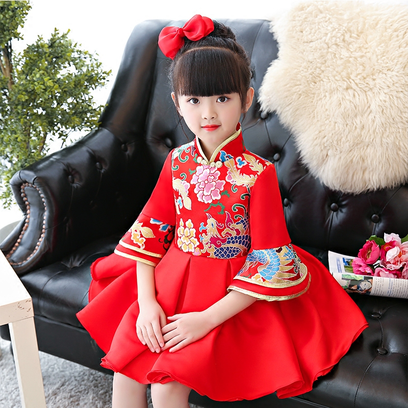 Chinese Style Retro Cheongsam Ball Gown Dress For Children Girls Kids Birthday Party New Year Christmas Festival Red Color Dress dress coat traditional chinese style qipao full sleeve cheongsam costume party dress quilted princess dress cotton kids clothing