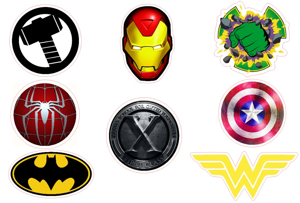 8 superhero logo wander woman batman iron man hulk matt