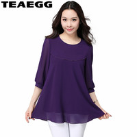 TEAEGG Spring Summer Shirt Women 2018 Loose Thin Elegant Chiffon Womens Tops And Blouses Plus Size 5XL 6XL Blusa Feminina AL968