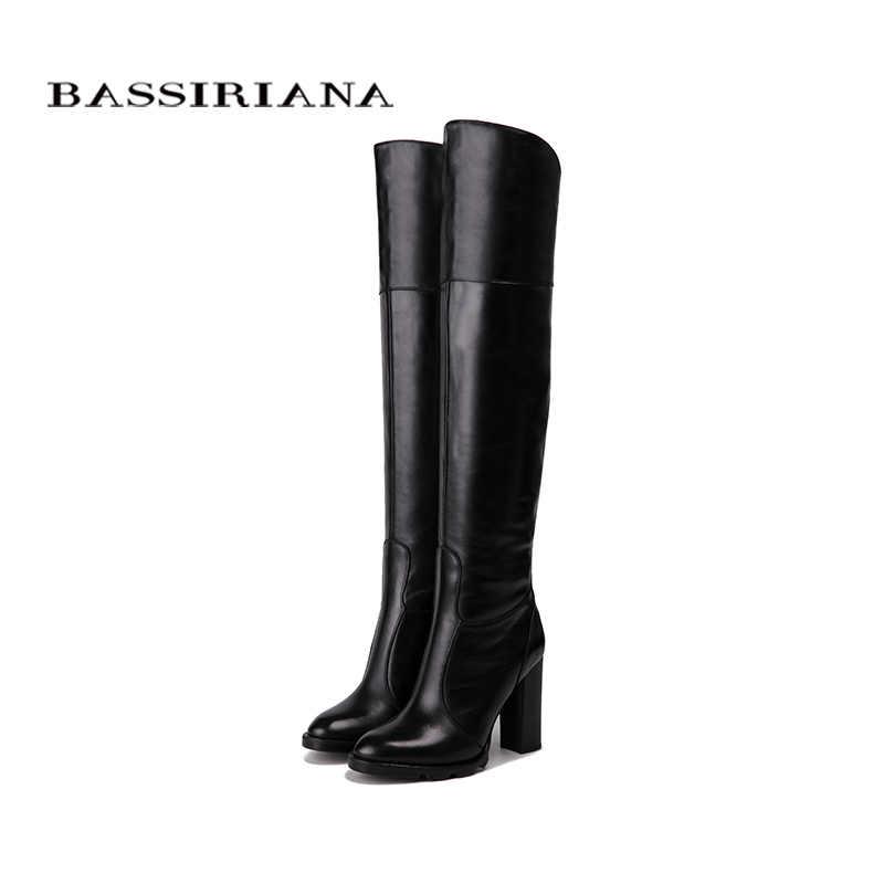 BASSIRIANA Aşırı diz Hakiki deri yüksek topuklu çizmeler kadın kış ayakkabı kadın Siyah şarap kırmızı Zip boyut 35-40