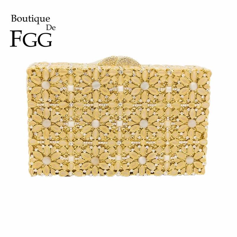 Golden Crystal Opal Flower Minaudiere Handbag Women Evening Clutches Bag Bridal Diamond Clutch Wedding Purse Metal Eveningbag