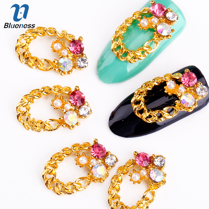 Blueness 10Pcs 3D Gold Nail Art Alloy Decorations Rhinestone Nail UV Gel Polish Studs Manicure Jewelry Tips Nail DIY Tools TN215 rose gold silver black nail beads caviar studs multi size diy 3d nail art uv gel lacquer decoration in wheel manicure accessorie