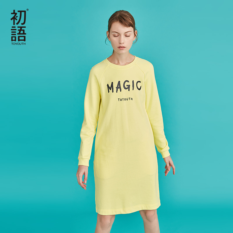 Toyouth Women Long Sleeve Dress Long Winter Sweater Dress Casual Khaki O Neck Dresses Letters Warm