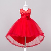 Pink Colors Kids Girls Clothes Costume Wedding Evening Dresses For Girls Children Sleeveless Birthday Party Baby