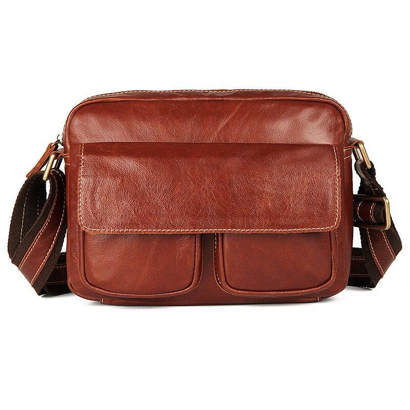 Messenger Bag Mens Shoulder Genuine Leather 2018Travel Casual Man Crossbody Bags for Men Vintage Brown Ipad
