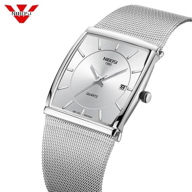Nibosiクリエイティブスクエアメンズ腕時計スポーツレロジオmasculino腕時計男性relojesステンレス鋼軍事防水腕時計