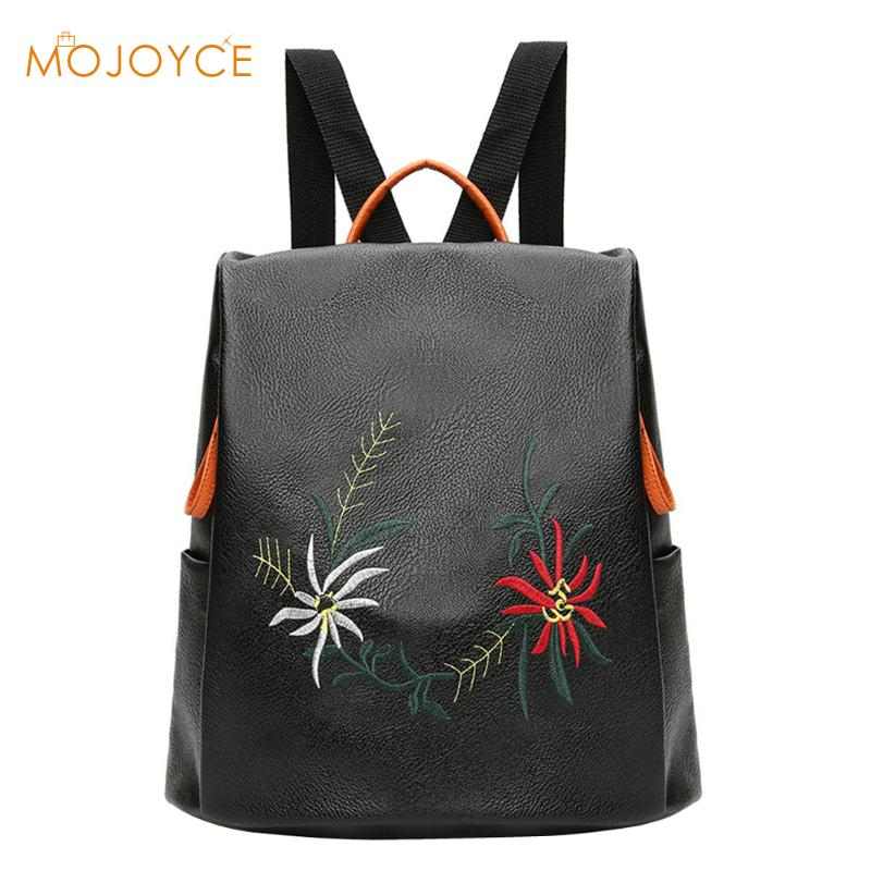 9bce24300a0e Best buy Women PU Leather Floral Embroidery Flowers Backpacks Small Bagpack  Female School Bags for Girls Rucksack Mochila Sac A Dos Femme online cheap