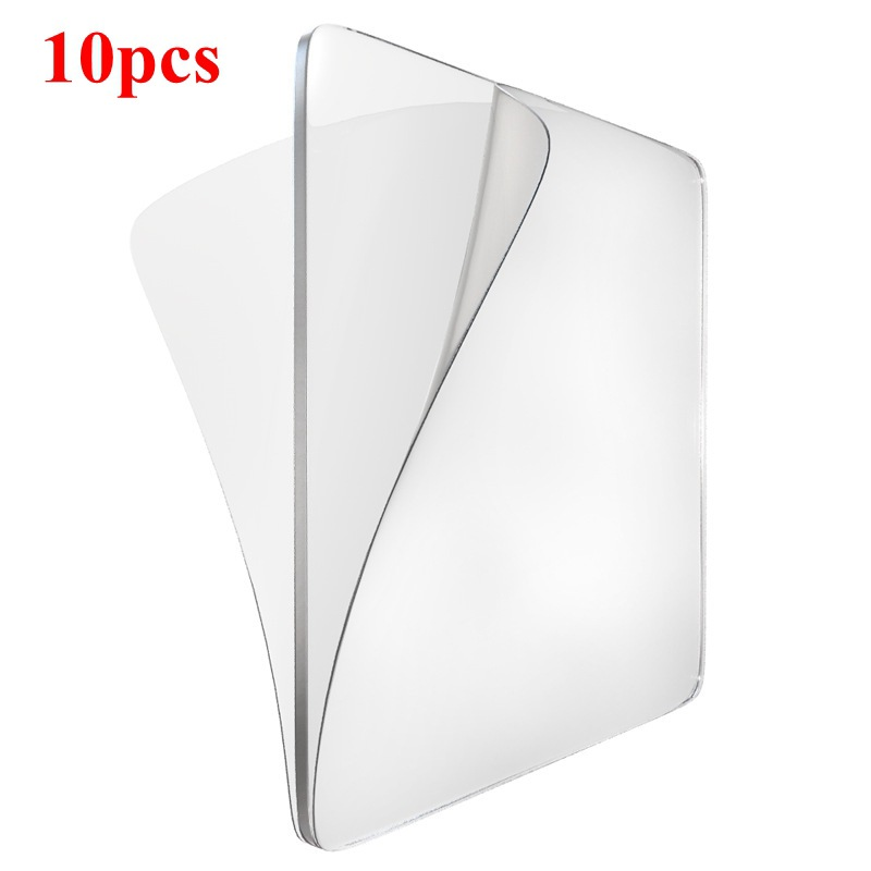 Reusable Square Strong Home Kitchen Transparent Hooks Clear Sticky Anti-Slip Gel Pads Double-Sided Mounting Tape Washable 10PCS