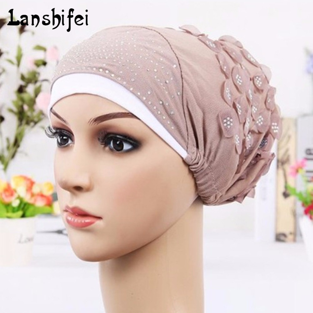 Cotton Hat for Women Dual-colors Skullies Beanies Flower Caps Hotfix Rhinestone Patterns Confinement Cap Chemotherapy Nightcap