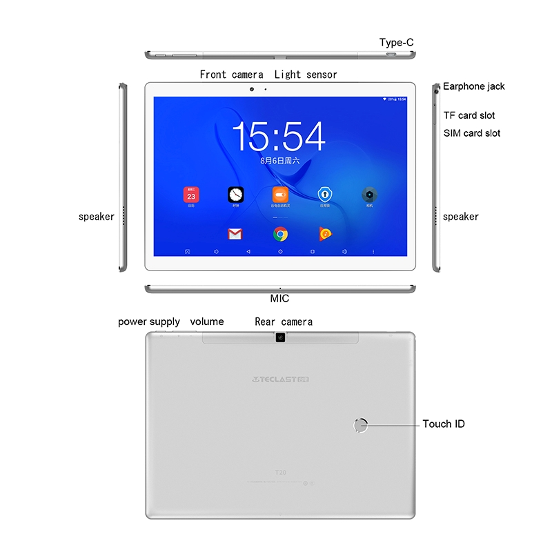 Teclast T20 Helio X27 Deca Core 4GB RAM 64G double 4G SIM Android 7.0 OS tablette 10.1 pouces - 6