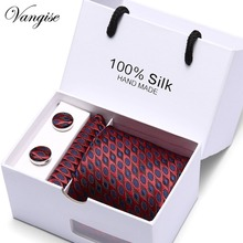 Gift box Ties For Men Blue Striped Silk Classic Jacquard Woven Tie Hanky Cufflinks Set For Business Wedding Party Free Shipping