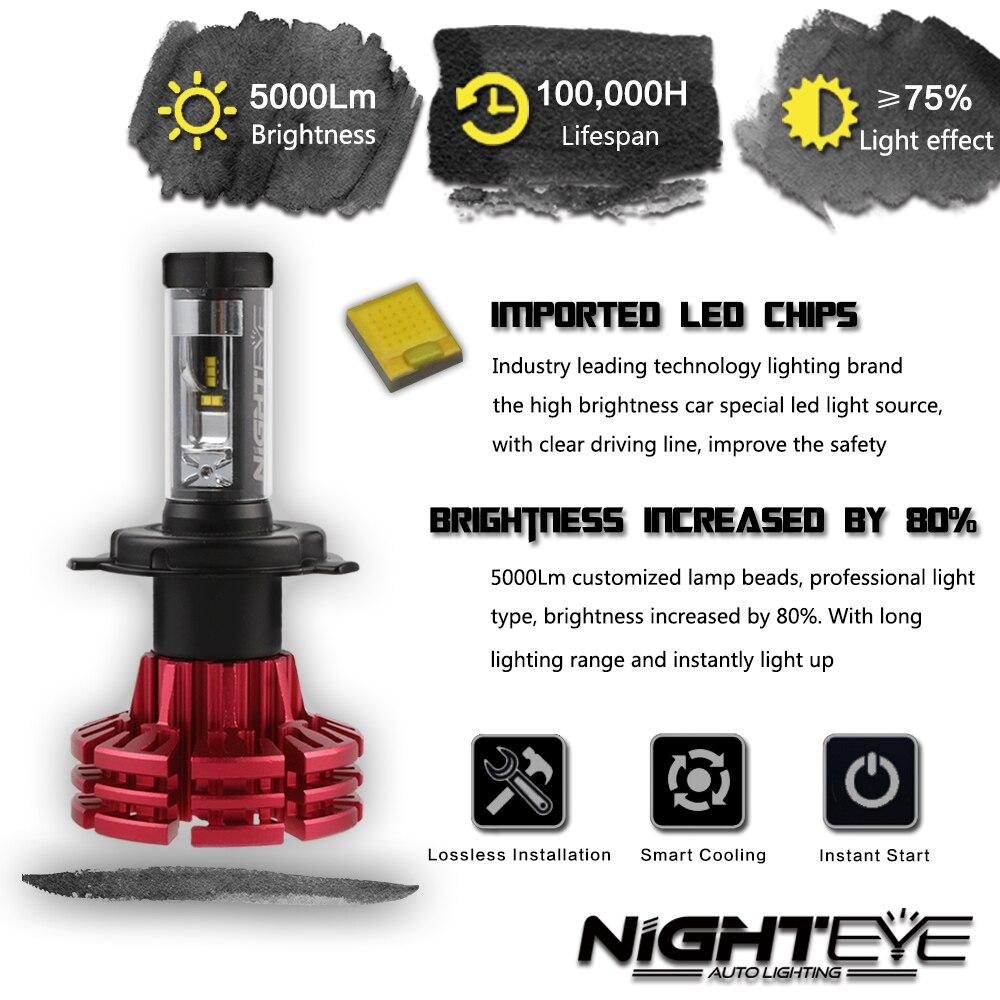 Nighteye LED H4/HB2/9003 H13 9005 9006 9007 H7 H11 60 W 10000LM Voiture LED Phares H1 H3 Phares Antibrouillard 3000 K 6500 K 8000 K Plug-n-play - 2