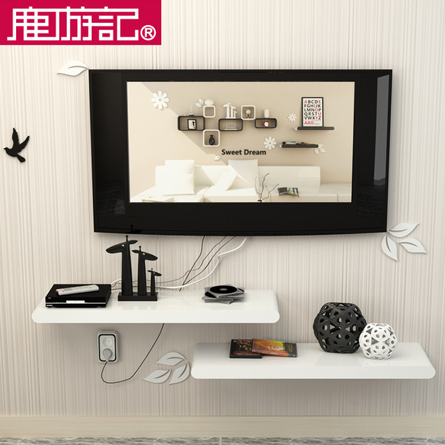 Wall Shelf Tv Set Top Box Frame Decorative Background Paint Shelves Word Separator