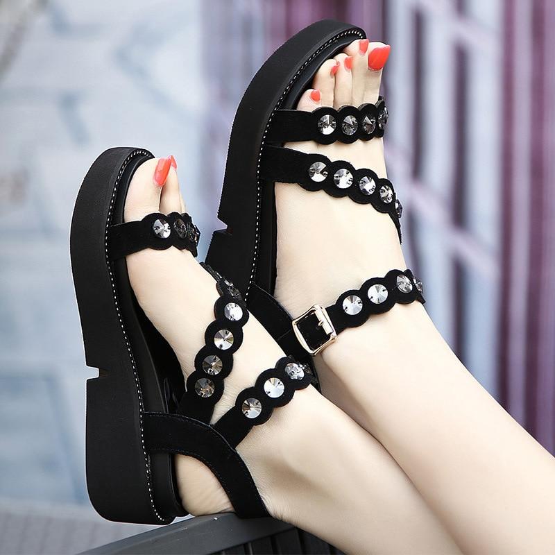 Plus Size Womens Platform Sandals Summer Shoes 2018 Rhinestone Gladiator Sandals Women Casual Flat Beach Shoe 42 43 41