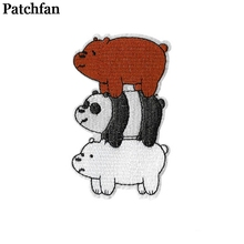 Patchfan We bare bears kids Embroidered cartoon patches iron on Sewing badge Applique accessories DIY Patchworks stickers 2125