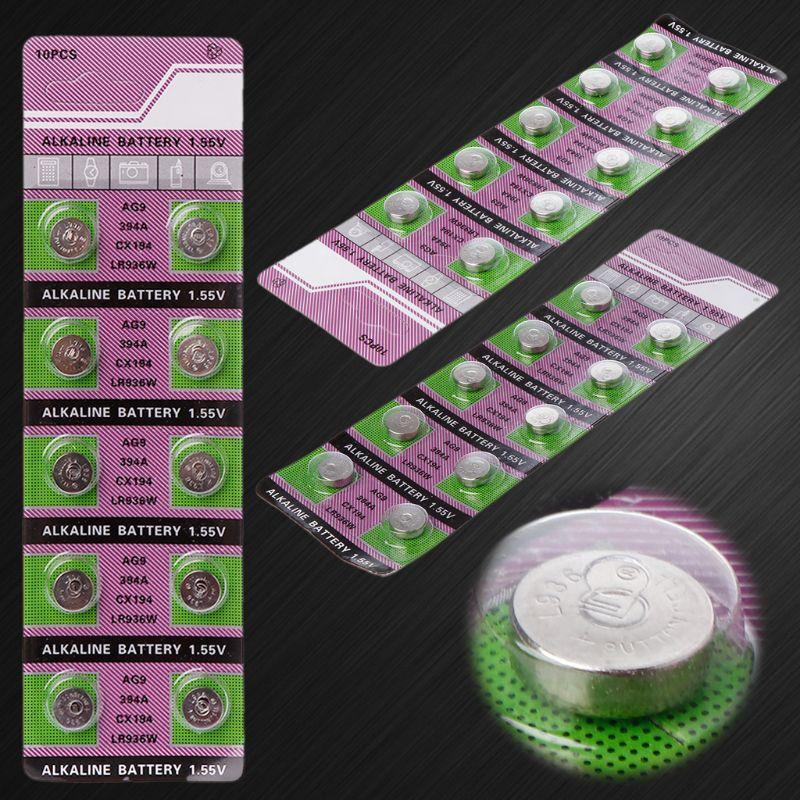 10PCS Alkaline Battery AG9 1.55V Button Coin Cell Watch Batteries LR936 394 SR936SW 194 V394 Control Remote