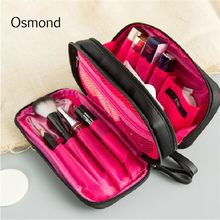 Osmond 2 Layer Cosmetic Bag Women Makeup Cases Nylon Eyebrow Pencil Cases Lady Cosmetic Storage Organizers Girls Travel Pouch(China)