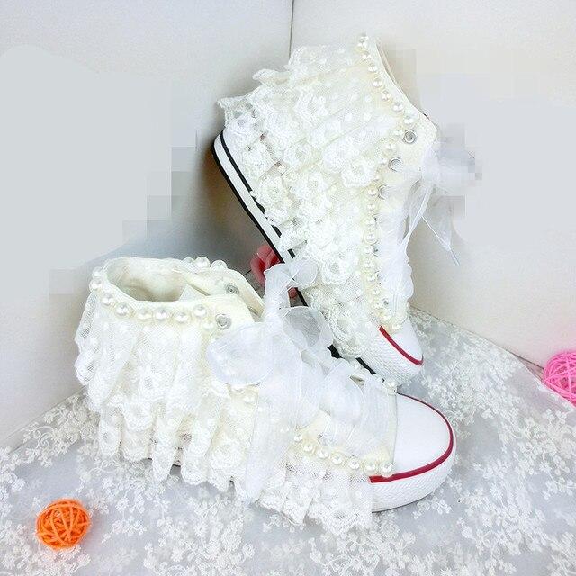 60436db21 Branco strass casamento pérolas marfim sapatos de lona sapatilha sapatos de  noiva branco mulheres meninas adolescentes