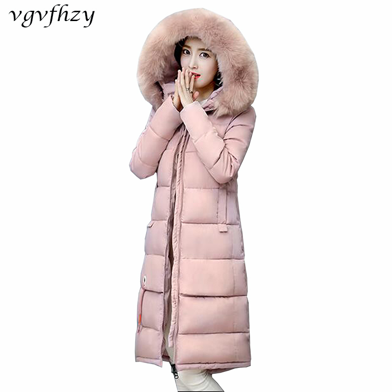 2017 New Winter Jacket Women Long Slim Large Fur Collar Hooded Down Cotton Parkas Thick Female Wadded Coat Plus Size 2XL LY556 2017 new fashion winter jacket women long slim large fur collar warm hooded down cotton parkas thick female wadded coat cm1678