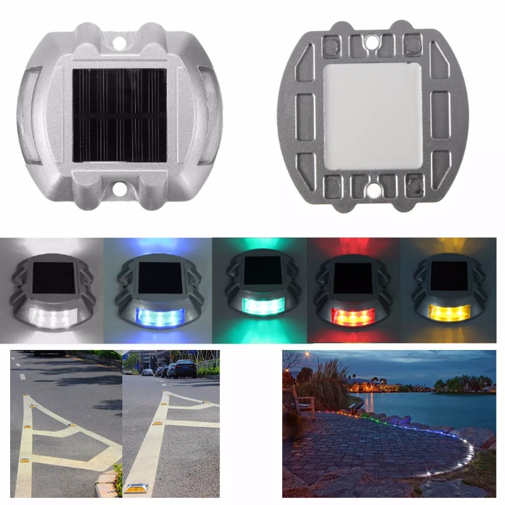 Solar LED Pathway Driveway Lights Dock Path Step Road Safety Lamps Road Dock Lamp 6Leds 500M Visible Distance Security Lights