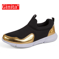 Ginita 2019 Spring Sneakers Footwear Women's Patchwork Slip On Shoes Laides Flats Shoes Plus Size 42 Golden Sneakers