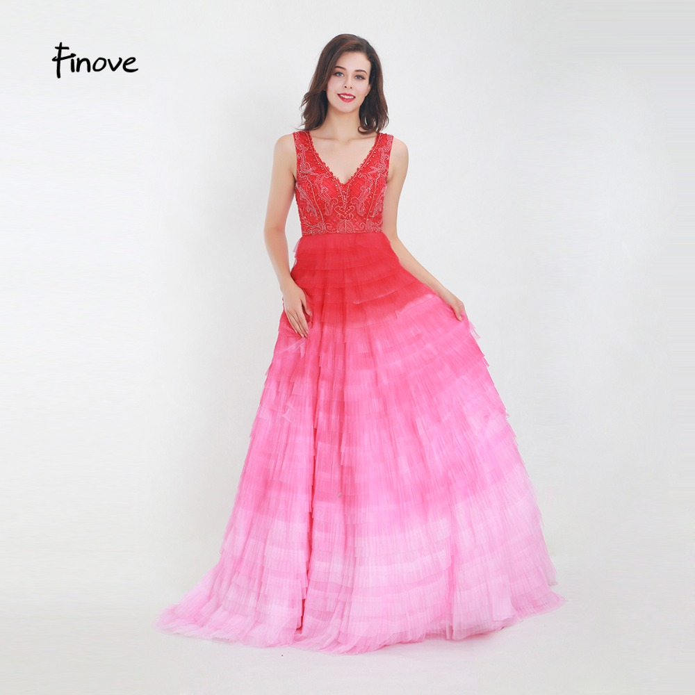 63115c4c31 Finove Evening Dress Long 2019 In Women'Dresses New Chic Gradient Color  Tiered Skirt Tulle Beaded ...