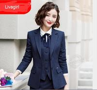 Spring elegant Single Breaseted blazer women formal Interview long sleeve slim black jacket office lady work plus size coat