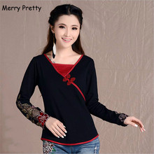 Merry Pretty vintage black women blouses and shirts ethnic embroidery long sleeve cotton blouse female tops plus size 4XL blusas
