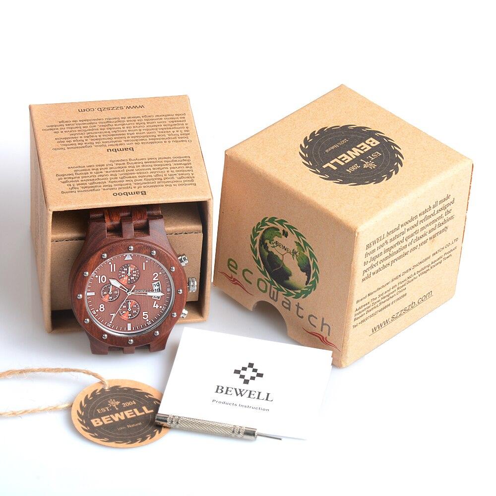 BEWELL Wood Watch Mens Watches Top Brand Luxury Designer Military Watch Quartz Analog Wrist Watch with Chronograph Calendar Date 15